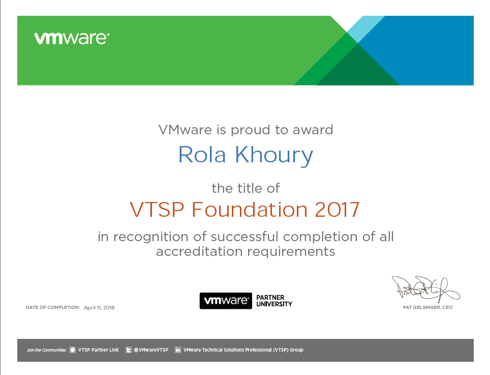 Certification: VTSP Foundation 2017